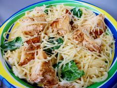 Lemon Angel Hair with Chicken and Spinach (So good we almost shamelessly licked the pan...)