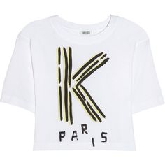 KENZO Cropped cotton T-shirt (145 BRL) ❤ liked on Polyvore featuring tops, t-shirts, shirts, crop tops, white, white cotton t shirts, t shirt, crop t shirt, cotton t shirts and white t shirt