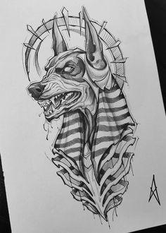 Dark Art Drawings, Tattoo Design Drawings, Art Drawings Sketches, Tattoo Sketches, Tattoo Designs, Ink Illustrations, Egypt Tattoo Design, Half Sleeve Tattoos Sketches, Egyptian Drawings