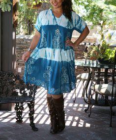 Look at this #zulilyfind! Blue Tie-Dye Panel Shift Dress - Plus #zulilyfinds