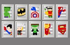 pick 3 PRINTS, modern super hero wall art prints, close up modern twist, shipped to your door