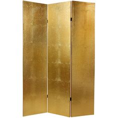"160 6 ft. Faux Leather Gold Crocodile Room Divider  15.75""W x 70.875""H (per panel)"