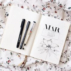 Bullet journal monthly cover page, March cover page, flower drawing.   @creativepause_