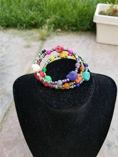 Check out this item in my Etsy shop https://www.etsy.com/listing/534181972/rainbow-howlite-skull-bracelet