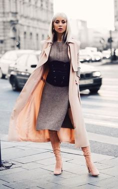 Chic Outfits, Fashion Outfits, Womens Fashion, Fashion Ideas, Diy Corset, Blogger Style, Her Style, Knit Dress, Midi Skirt