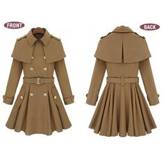 Big'n'Trendy European Style Long Wool Trench Coat
