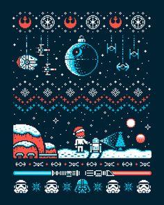 Merry Christmas Christmas santa star wars Death Star Darth Vader retro Luke Skywalker christmas card r2d2 card light saber pixel 8bit how how how