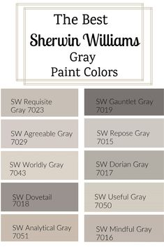 The Best Sherwin Williams Gray Paint Colors. With so many Sherwin Williams gray paint colors, how do you choose one? I went ahead and found the best of the best to share with you. Sherwin Williams Grau, Sherwin Williams Agreeable Gray, Sherwin Williams Sea Salt, Gauntlet Gray Sherwin Williams, Dovetail Sherwin Williams, Sherwin Williams Gray Paint, Functional Gray Sherwin Williams, Modern Gray Sherwin Williams, Sherwin Williams Amazing Gray
