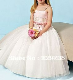 Free Shipping Ball Gown Spaghetti Straps Floor-length Tulle and Satin with Applique Flowergirl Dress $71.25