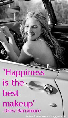 Quotes and inspiration from Celebrity QUOTATION - Image : As the quote says - Description Happiness is the best makeup - Drew Barrymore Sharing is everything - We, at Quotes Daily, we think that sharing Motivacional Quotes, Great Quotes, Quotes To Live By, Inspirational Quotes, Star Quotes, Unique Quotes, Amazing Quotes, Happy Quotes, Drew Barrymore