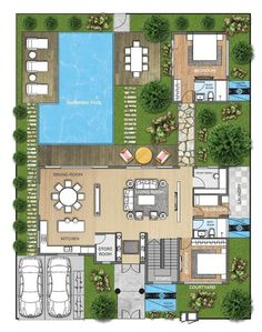 Pool House Plans, Sims House Plans, Courtyard House Plans, House Layout Plans, Dream House Plans, House Layouts, Villa Plan, Affordable House Plans, House Design Pictures