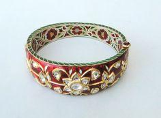 Vintage antique 22 carat Gold Daimond polki kundan enamel work bracelet bangle Rajasthan India. 7K via Etsy.