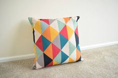"Multi Coloured Geometric/Scandinavian Cotton Linen Cushion/Pillow Cover 18 x 18"""