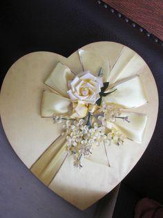 "Vintage Yellow Heart Shaped Valentine Schrafft's Candy Box silk 13""  In Box"