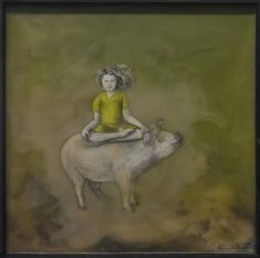 Meditation on a Pig by Alexandra Petersen Encaustic with Pen and Ink Drawings Unframed: 12 in x 12 in Framed: in x in Ink Drawings, Contemporary Artists, Meditation, Art Gallery, Fine Art, Amazon, Creative, Artwork, Painting