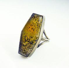Vintage Knuckle Ring Spotted Moss Dendritic Agate Sterling Silver Hexagon Jewelry