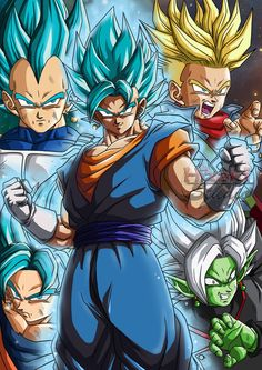 Vegeta, Goku, Vegito, Trunks, and Zamasu fusion