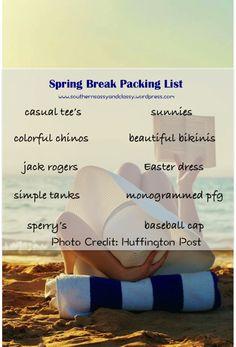 spring break packing list (blog)