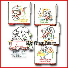 Vintage Elephant DOW Embroidery Pattern