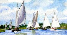 "Miniature art. Original pinner sez: 'Hunter's Yard, Norfolk' A miniature watercolor painting of mine showing the fine yachts sailing the river at Hunter's yard in Norfolk,England on a beautiful Summers day. The Norfolk Broads are a playground for holidaymakers who love boats. It is a tiny 3"" x 1.75"" Dollhouse painting. Framed. It would also look good in a miniature collection.More paintings in my Etsy shop BUYMINIART. Pauline Whiteley."