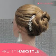 15 Mesmerizing Bridal Updos That Will Inspire You Updos go with all kinds of dresses and look elegant no matter what your hair type is. Check out these stunning Bridal Updo Hairstyles. Easy Hairstyles For Medium Hair, Messy Hairstyles, Pretty Hairstyles, Wedding Hairstyles, Updo Hairstyles Tutorials, Hairstyles Videos, Hair Tutorials, Hairdos, Short Hair Styles Easy