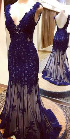 Trumpet/Mermaid V-neck Tulle Appliques Lace Sweep Train Backless Custom Prom Dresses #UKM020103519