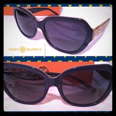 "HOST PICK! Authentic Tory Burch sunglasses HOST PICK! PRICE DROPfrom Sunglass Hut-retail price $215-worn 1x on the 4th of July,2014-have been sitting in my jewelry armoire since then! PERFECT CONDITION! Model ""TY7071"" -color ""13334U"" called Navy Horn/Blue Gradient Polarized Lens 58mm (as indicated on arms in pics) No scratches-No signs of wear. Comes with the original packaging which includes beige/cream pouch with suede drawstrings and Tory Burch pull and rust/orange hard travel case also…"