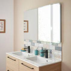 Miroir lumineux avec éclairage intégré, l.120 x H.70 cm Renzo | Leroy Merlin Vanity, Renzo, Mirror, Bathroom, Leroy Merlin, Furniture, Home Decor, Lighted Mirror, Diy Ideas For Home