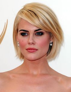20 Bob Hairstyle Ideas: Rachael Taylor's Long Sideswept Bangs Paired With Bob