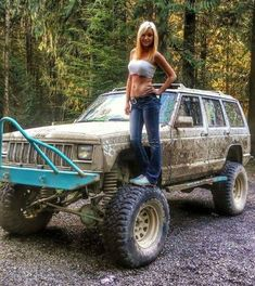 Jeeps and Jeep Girls. Some pics and vids are my personal ones, but most pics are from the net so if its yours or copyrighted let me know and it will be removed. Jeep Wrangler Girl, Jeep Xj, Jeep Truck, 4x4 Trucks, Sexy Cars, Hot Cars, Jeep Baby, Badass Jeep, Redneck Girl