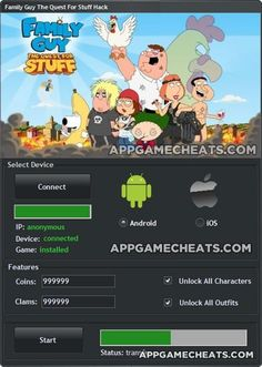 Family Guy: The Quest for Stuff cheats and hack for coins and clams http://appgamecheats.com/family-guy-quest-stuff-cheats-tips-hack-coins-clams/