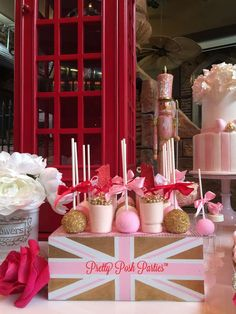 Pink and gold treats at a London birthday party! See more party planning ideas at CatchMyParty.com!