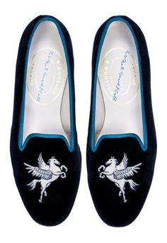 Introducing an exclusive collaboration with British illustrator & designer Luke Edward Hall.  Our Pegasus LEH slipper features the finest Black Sea Island C