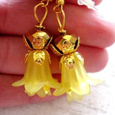 Bright Gold Filigree Flower Yellow Lily Lucite by MystiqueCat, $15.00