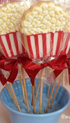 Popcorn cookie pops at a Circus  Birthday Party!  See more party planning ideas at CatchMyParty.com!