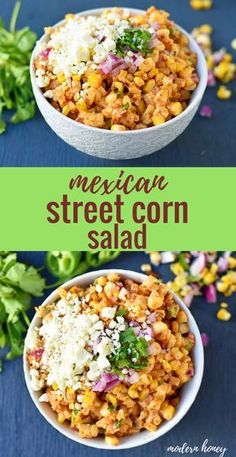 Mexican Street Corn Salad is made with roasted corn, lime juice, cilantro, mexican spices, a touch of mayo and cotija cheese. Mexican Street Corn Salad, Mexican Street Food, Corn Salad Recipes, Corn Salads, Mexican Appetizers, Mexican Food Recipes, Delicious Appetizers, Dinner Recipes, Roasted Corn Salad