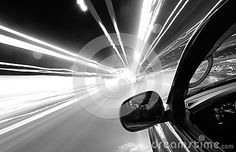Driving at speed of light on city streets at night