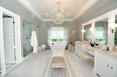 Hamptons Real Estate & Homes for Sale Black Bedroom Design, Bathroom Interior Design, Dream Home Design, Modern House Design, Small Attic Bathroom, Relaxing Bathroom, Luxury Master Bathrooms, Deco Design, Interior Exterior