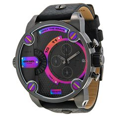 Diesel Bass Ass Chronograph Grey and Rainbow Dial Stainless Steel Mens Watch DZ7270