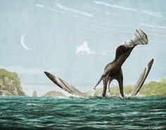 Ornicheirus simus despegando desde el agua, paleoarte de Mark Witton. Sobre la hipótesis de despegue, ver el texto.
