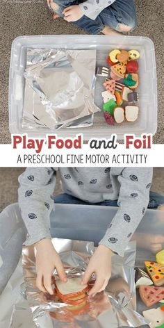 Play Food and Foil Fine Motor Activity - Munchkins and Moms You are in the right place about Montessori Materials name Here we offer you the most beautiful pictures about the Montessori Materials engl Eyfs Activities, Motor Skills Activities, Infant Activities, Learning Activities, Food Activities For Toddlers, Fine Motor Preschool Activities, Health Activities, Nursery Class Activities, Family Activities