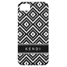 Black and White Aztec Tribal Print Monogram iPhone 5 Case