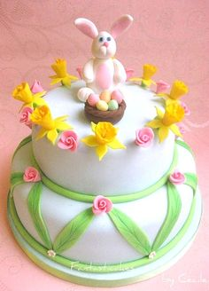 Pink bunny Easter cake