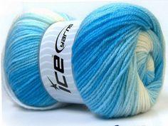Baby Batik White Blue Shades knitting yarn from ice yarn