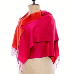 """Double your color fun with our two-tone Himalayan real Pashmina Scarf. Create your own bespoke Cashmere Muffler, shown here in Two-Tone weave in Pink and Orange with 3"""" Twisted Knot fringe, at https://pashm.com/shop/himalayan-cashmere-muffler/"""