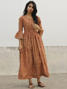 Brick Red Ivory Brown Hand Block Long Cotton Dress With Bell Sleeves - – InduBindu Kurta Designs, Blouse Designs, Dress Designs, Cotton Gowns, Cotton Long Dress, Cotton Frocks, Frock Dress, Saree Dress, Dress Red