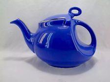 Hall Pottery Blue Teapot 6 Cup Gold Color Trim