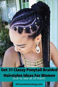 See the trending ponytail braided hairstyles for black women in 2020. #braidedhairstyles Braided Ponytail Black Hair, Braided Ponytail Hairstyles, Braided Hairstyles For Black Women, African Braids Hairstyles, Braids For Black Hair, Trendy Hairstyles, Girl Hairstyles, Hairstyles 2018, Hairstyles Games