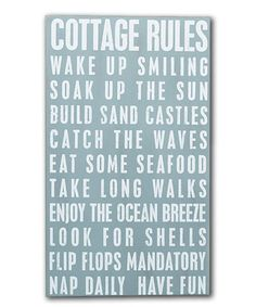 Another great find on #zulily! 'Cottage Rules' Box Sign #zulilyfinds