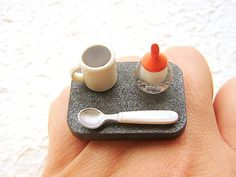 Kawaii Cofffee Ring   Miniature Food Jewelry by SouZouCreations, $12.50